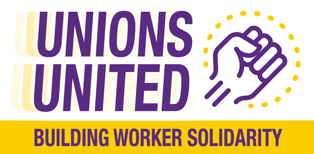 "Words ""unions united"" with a fist"